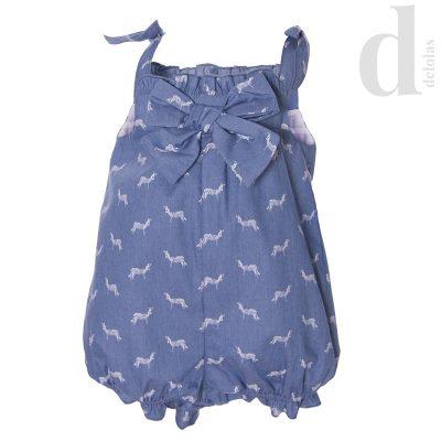 Mono niña bebe azul jeans Blanca Valiente verano 2018