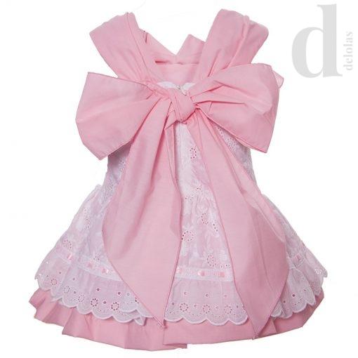 Vestido talle bajo perforado rosa Blanca Valiente Verano 2018