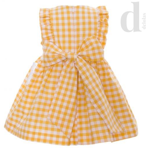 vestido cuadros vichy blanca valiente amarillos en delolas moda infantil verano 2018 2