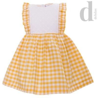 vestido cuadros vichy blanca valiente amarillos en delolas moda infantil verano 2018