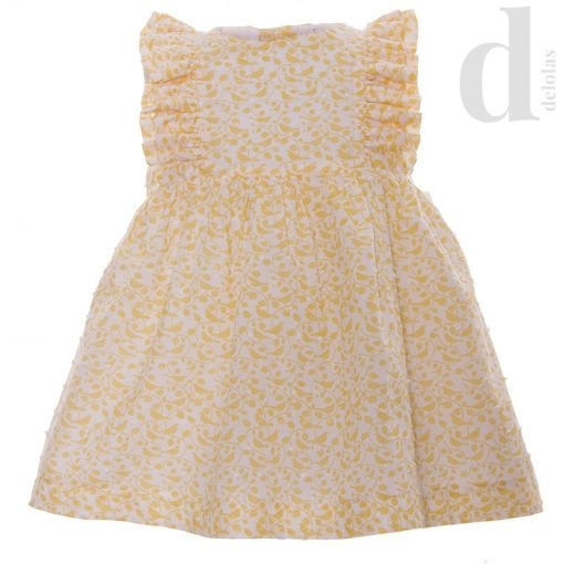 vestido infantil plumeti amarillo blanca valiente verano 2018 en delolas