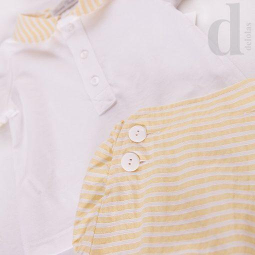 Conjunto bb algodon rayas amarillas Blanca Valiente verano 2018