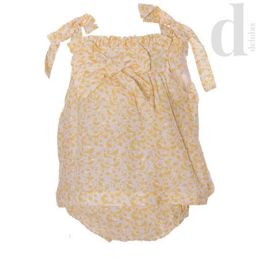 Pelele vestido plumeti amarillo Blanca Valiente Verano 2018