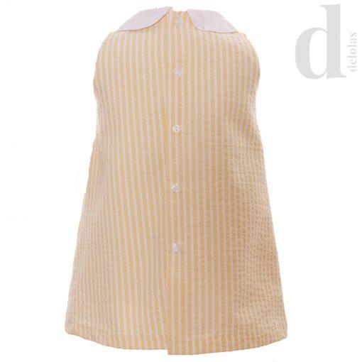 vestido infantil rayas amarillas y blancas blanca valiente verano 2018 en delolas moda infantil